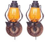 Onlineshoppee Wooden & Iron Fancy  Wall Hanging Electric Chimney Lamp  Sise(LxBxH-6x5x11)  Inch, Color Yellow,Pack Of 2