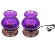 Wooden & Iron Hand Carved Colored Electric Chimney Lamp Design  Purple,Pack Of 2