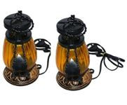 Wooden & Iron hand carved Colored Electric Chimney Lantern design  YELLOW,Pack Of 2
