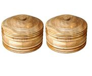 Onlineshoppee Wooden Antique Handcrafted Chapati Box,Pack Of 2