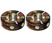 OnlineShoppee Wooden Premium Quality Antique Ashtray Brown,Pack Of 2