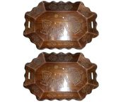 Onlineshoppee Tray Serving Fruit Home kitchen Wooden Fancy Decor Wood Gift Basket Trey,Pack Of 2