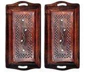 Onlineshoppee Wooden Premium Quality Serving Tray With Hand Carved Design 15 inch Large,Pack Of 2