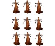 Family Pack of 9 Pc Handmade Wooden Nose Shaped Specs Stand Spectacle Holder