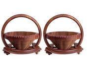 Onlineshoppee Wooden Fruit & Vegetable Basket Size-LxBxH-9x9x9 Inch,Pack Of 2
