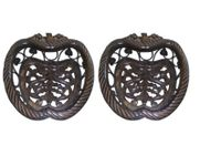 Onlineshoppee Wooden & Iron Fruit Basket Apple Shape,Pack Of 2