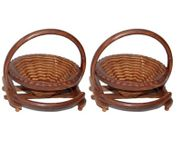 Onlineshoppee Fully Foldable Wooden Fruit Basket,Pack Of 2