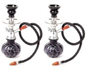 Onlineshoppee Black Stylish  Glass Hookah With Coal Pack And Flavor,Pack Of 2