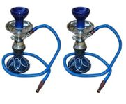 Onlineshoppee Blue Hookah With Coal Pack And Flavor,Pack Of 2