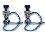 Onlineshoppee Glass & Metal Hookah Blue,Pack Of 2