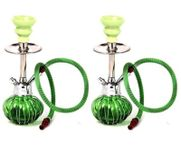 Onlineshoppee Beautyful Design Matel & Glass Hookah Color-Green (Size-lxbxh-5x5x12) Inch,Pack Of 2