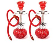Onlineshoppee Beautyful Design Matel & Glass Hookah Color-Red (Size-lxbxh-5x5x12) Inch,Pack Of 2