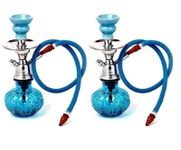 Onlineshoppee Blue Unique Design  Glass Hookah With Coal Pack And Flavor,Pack Of 2