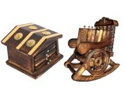 Onlineshoppee Traditional Coaster Set  Hut With Antique Design,Wooden Chair Coaster Set,Pack Of 2