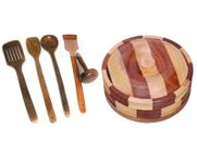 Onlineshoppee Beautiful Wooden Antique Handcrafted Chapati Box,With 4 Cooking Spoon,1 Masher,Pack Of 6