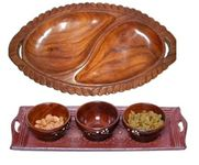 Onlineshoppee Wooden Handmade 3 Dry Fruit bowl & 1 Serving Tray, & Wooden Dry Fruits Tray Leaf Design