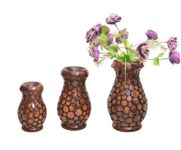 Onlineshoppee Wooden Antique Flower Vase With Handwork Design Pack Of 3