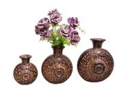 Onlineshoppee Wooden Antique Flower Vase With Handwork Design Pack Of 3,