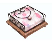 Onlineshoppee Wooden & Iron Antique Handcrafted Tissue Holder Size-lxbxh-7.5x7.7x3.5 Inch