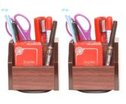 Onlineshoppee Wooden Revolving Pen Stand Office Stationery Holder,Pack Of 2