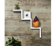 Onlineshoppee Handicraft W Shape Designer MDF Wall Shelf - lxbxh-23x6.5x5 Inch - White