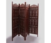 Onlineshoppee Brown Wooden Partition Screen Room Divider In 4 Panel Size-lxbxh-80x1x72 Inch