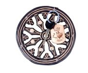 Wooden Key Holder In Wheel Shape With Handicraft Design and Brass Inlay
