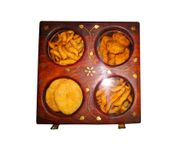 Onlineshoppee Wooden Holi Special Snacks and Dry Fruit Square Box
