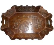Tray Serving Fruit Home kitchen Wooden Fancy Decor Wood Gift Basket Trey
