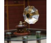 Handicraft Wooden Brass Inlay Round Gramophone Decorative music player