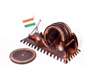 Wooden Big Tea/Coffee Coaster With Indian Flag