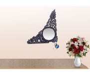 Onlineshoppee MDF Decorative Beautiful Design Wall Mirrorr With 5 Key Holder