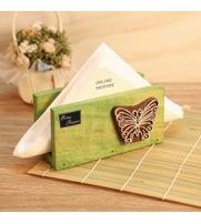 Onlineshoppee Butterfly Engraved Block Napkin Holder Green
