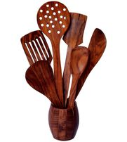 Onlineshoppee Wooden Kitchen Spoon Set of 7 Including  Barrel Shaped Stand
