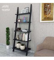 Onlineshoppee Leaning Bookcase Ladder and Room Organizer Engineered Wood Wall Shelf -Black