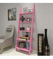 Onlineshoppee Leaning Bookcase Ladder and Room Organizer Engineered Wood Wall Shelf -Pink