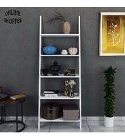 Onlineshoppee Leaning Bookcase Ladder and Room Organizer Engineered Wood Wall Shelf -White