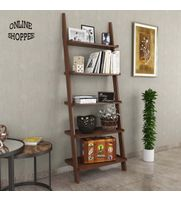 Onlineshoppee Leaning Bookcase Ladder and Room Organizer Engineered Wood Wall Shelf -Brown