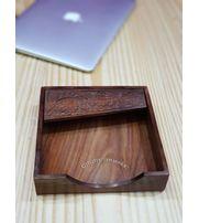 Onlineshoppee Wood Carving Work Leaf Design Napkin Tissue Paper Holder