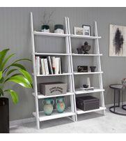 Onlineshoppee Leaning Bookcase Ladder and Room Organizer Engineered Wood Wall Shelf -Set of 2