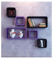 Onlineshoppee MDF Cube Shape Floating Wall Shelves Set of 6