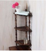 Mini Wooden corner rack side table home décor carved end table furniture shelves