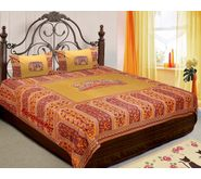 Premium Hand Embroidery Work Rajasthani Print Bed-sheet with Two Pillow Cover (Patch Work)