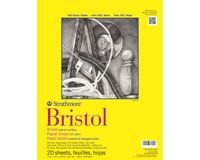 Strathmore 300 Series Bristol 14''x17'' Extra White Vellum 270 GSM Paper, Short-Side Tape Bound Pad of 20 Sheets