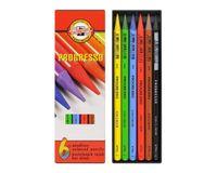 Koh-I-Noor Progresso Woodless Artist's Coloured Pencils - Set of 6 Assorted Colours