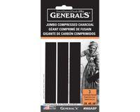 General's  Jumbo Compressed Charcoal Sticks, Rectangular, Assorted (2B, 4B & 6B)