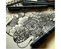 Snowman Drawing, Zentangle & Manga Pens - Set of 6