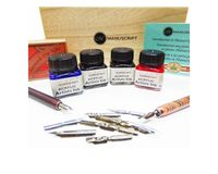 Manuscript Leonardt Calligraphy Artist Dip Pen Set of 18 in Wooden Box