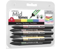 Letraset ProMarkers Set of 6 Middle Tones