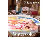 Strathmore 300 Series Watercolor 9''x12'' Natural White Medium & Smooth Grain 300 GSM Paper, Short-Side Tape Bound Pad of 12 Sheets